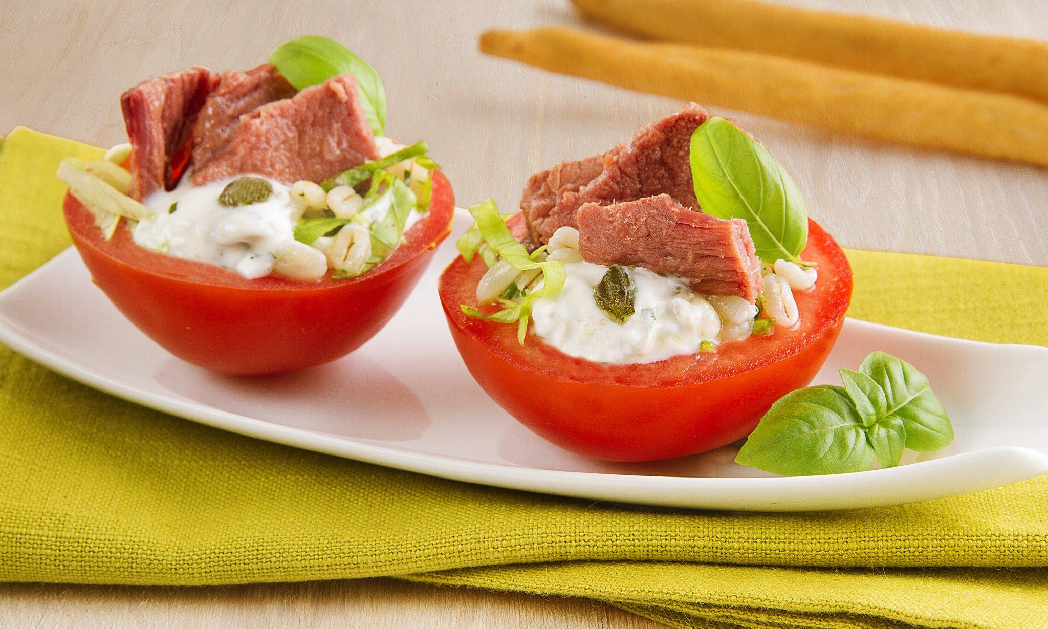 Ricetta carne Montana con barchette di pomodori