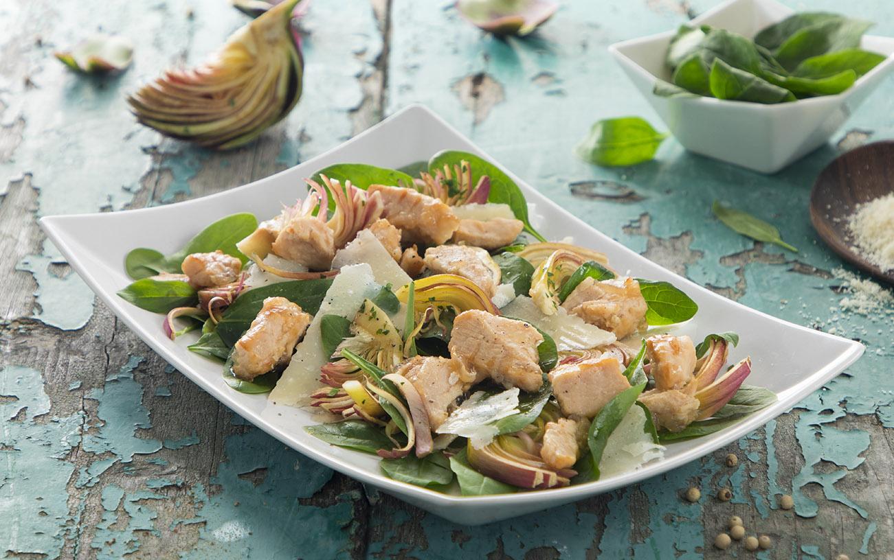 Insalata di spinacino, carciofi e leggera di pollo