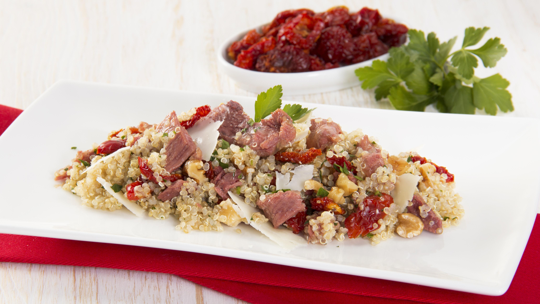 Quinoa al prezzemolo con pecorino e carne in gelatina